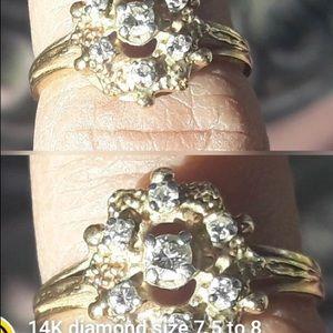 14K diamond ring sz 7 1/2 to 8